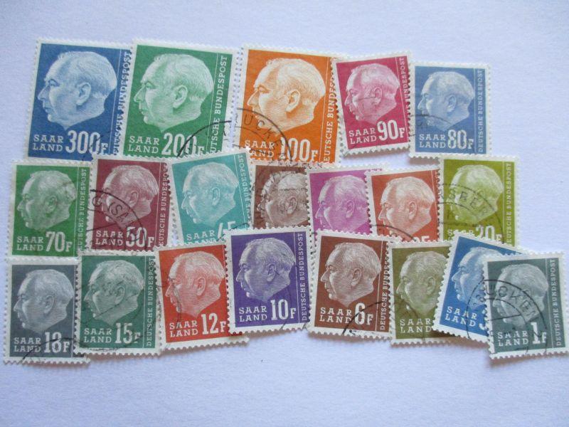 Saarland, 409-428, Bundespräsident Heuss, gestempelt komplett (14241)