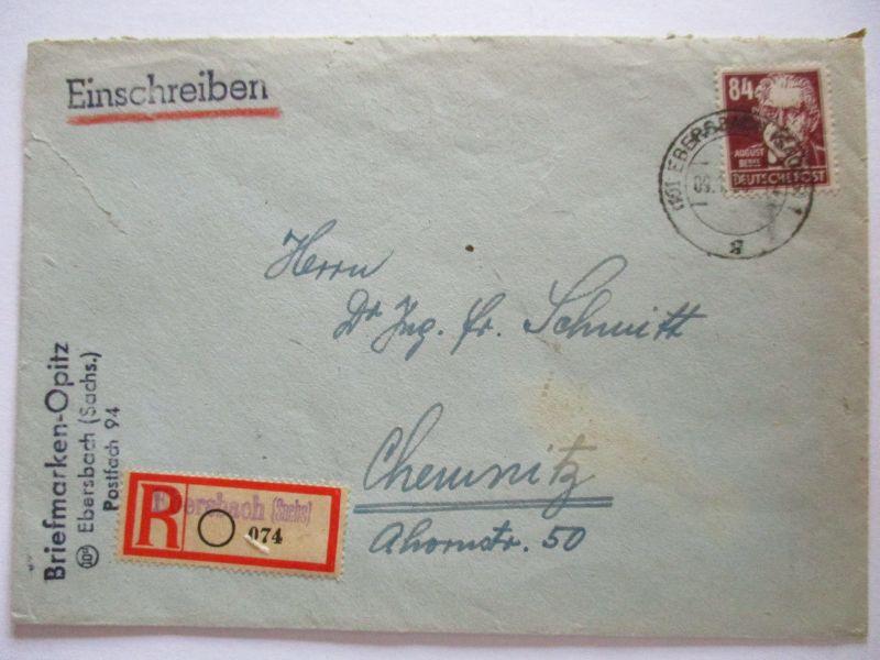 DDR, R-Brief 1950 aus Ebersbach, 84 Pfg. Bebel als EF (54893)