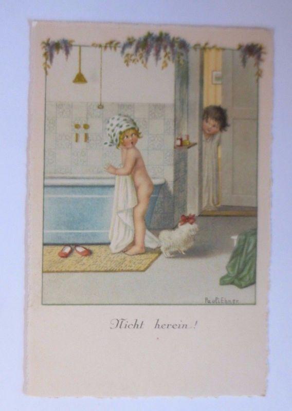 Pauli Ebner, Kinder, Badezimmer, Nicht herein, 1930 ♥ (28927)