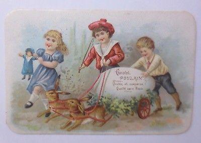 Kaufmannsbilder, Chocolat Poulain,  Ostern, Kinder, Hase, Puppe   1900 ♥ (61941)