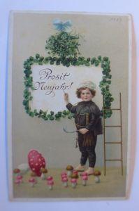 Glückwunschkärtchen, Neujahr, Blumen, aus Bingen a. Rhein  1900  ♥ (65227)