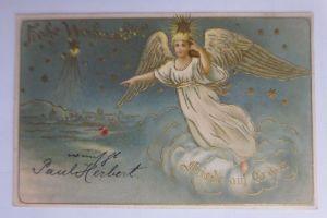 Weihnachten, Engel, Wolke, Sternenhimmel, Friede auf Erden, 1903 ♥(65465)
