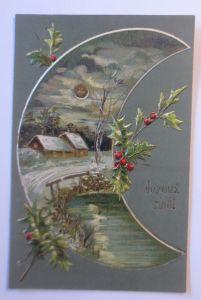 Neujahr, Mond, Winterlandschaft, Disteln, 1907, Prägekarte ♥ (65222)
