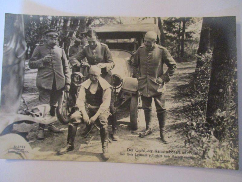 Berufe, Friseur, Haare schneiden, Soldaten, Auto, Fotokarte ca. 1915 (31618)