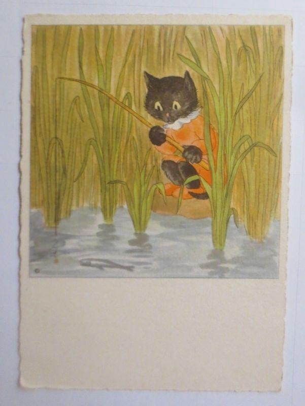 Katzen, Angeln, Fisch,    1945, Bohatta Morpurgo   ♥ (66211)