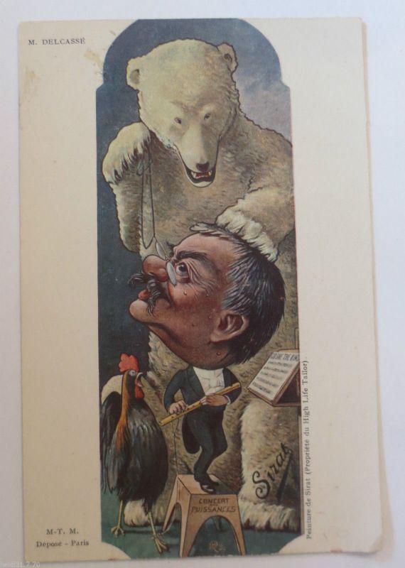 Politik, Karikatur, sign. B. Moloch: Karikatur, Bär Brille Frankreich ♥ (33356)