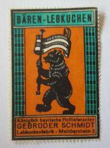 Reklamemarke, Werbung, Bären-Lebkuchen, Lebkuchen Fabrik Meinbernheim 2 (30036)