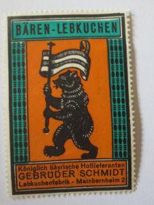 Reklamemarke, Werbung, Bären-Lebkuchen, Lebkuchen Fabrik Meinbernheim 2 (30035)