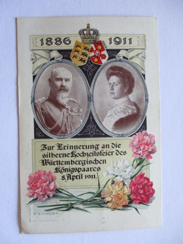 Württemberg, Privatganzsache Silberhochzeit des Königspaares 1911 (36832)