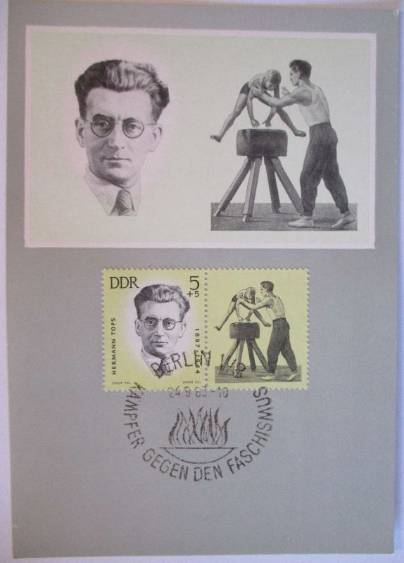 DDR, Sportler Opfer des Faschismus, Maximumkarte 1963, Hermann Tops (3669)