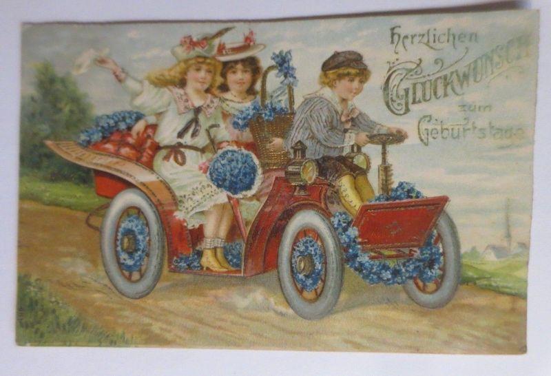 Geburtstag Kinder Mode Auto Oldtimer 1910 Pragekarte 66600