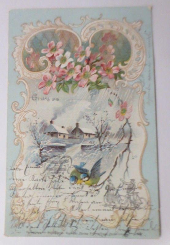 Pfingsten, Winterlandschaft, Fahrrad, August Stukenbrok Einbeck,  1905 ♥ (66596)