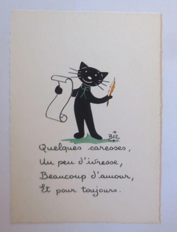 Karikatur, Biz, Katzen, Feder, Schreiben, Brief,    1960 ♥ (66199)
