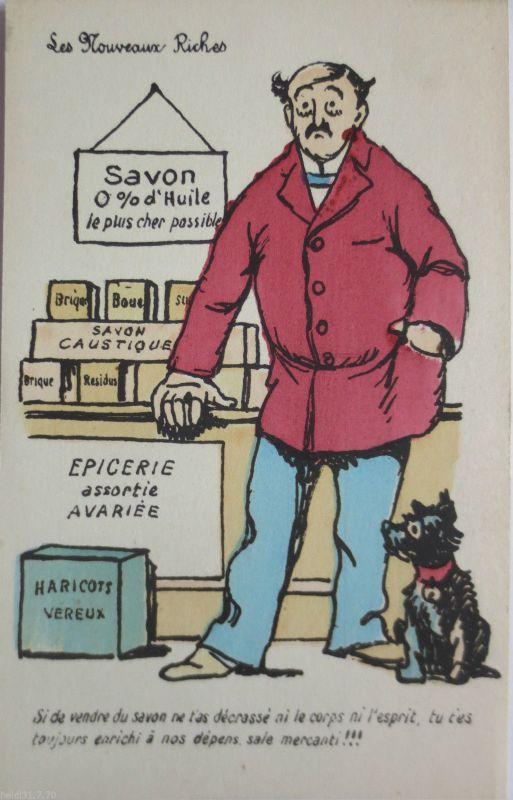 La Noveaux Riches, Mann und Hund, Scherzkarte ca. 1920 (21055)