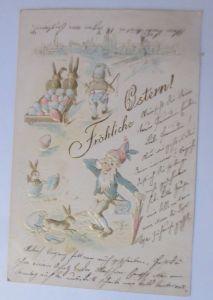 Ostern, Zwerge, Hase, Ostereier, 1901, Prägekarte ♥  (66704)
