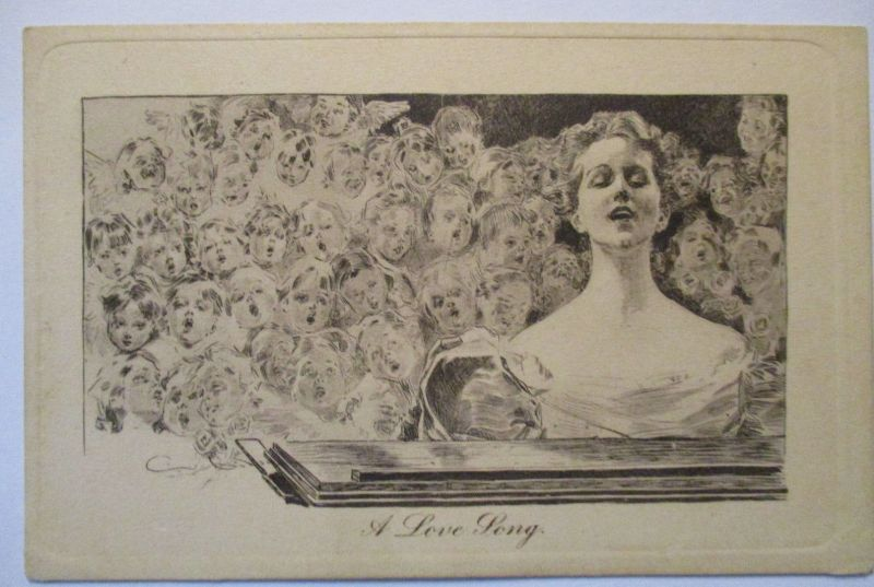 Musik Kinder, A love song, Pictorial Comedy Postcard Henderson & Sons (10670)