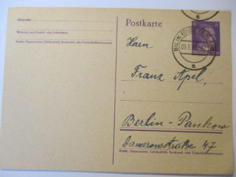 Sudetenland, Ganzsache 1943 aus Bilin (Bilina, Böhmen) (45921)