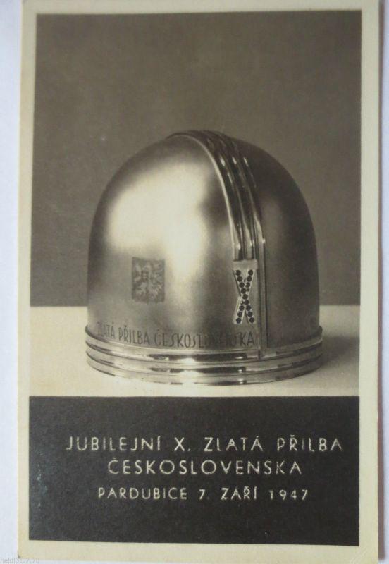 Motorrad - Rennen Pardubice Tschechoslowakei 1947, Motorradhelm (19190)