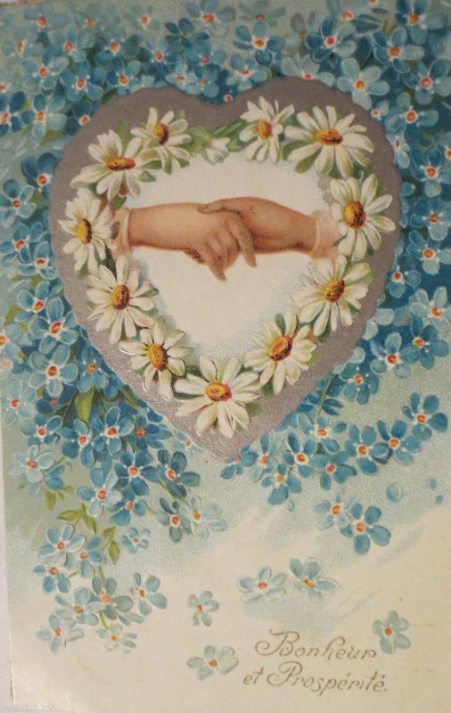Geburtstag Herz Hand Blumen 1903 Pragekarte 25352 Nr