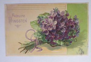 Pfingsten,  Blumen, Veilchen,   1912, Prägekarte ♥ (66574)