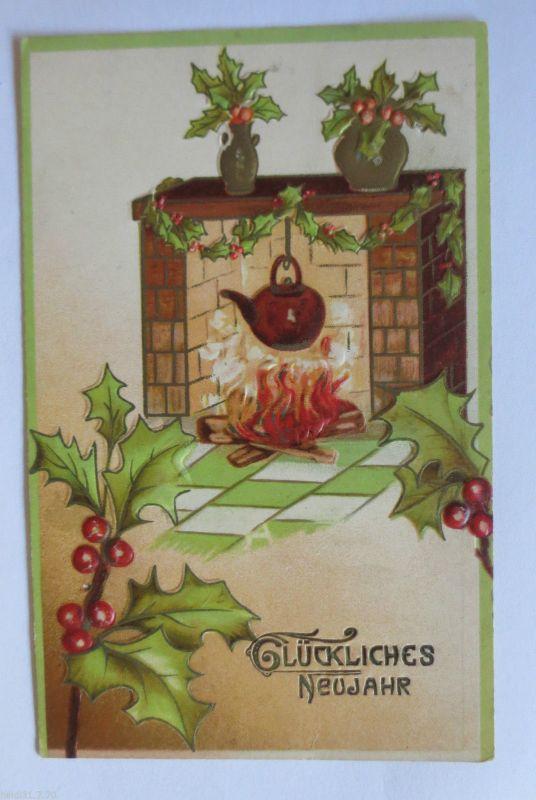 Neujahr, Kamin, Kessel, Feuer, Disteln\