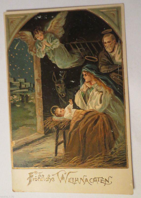Bilder Weihnachten Krippe.Weihnachten Krippe Engel 1900 Mailick Golddruck 25938
