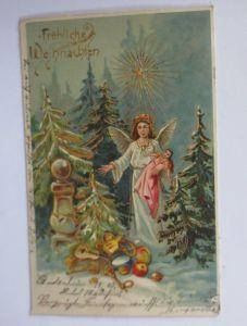Weihnachten, Engel, Christkind, Spielzeug, Puppe,   1903, Golddruck  ♥ (65844)