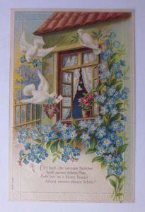 Geburtstag, Landschaft, Blumen, Jugendstil,  1903, Prägekarte ♥ (62863)