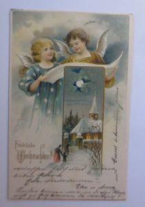 Weihnachten, Engel, Buch, Kirche,   1904, Prägekarte ♥ (65712)