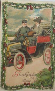 Neujahr, Auto, Männer, Frauen, Muff 1912, Prägekarte  ♥ (20482)