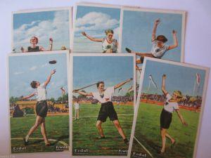 Reklame, 6 Erdal Sammelbilder, Frauen Leichtahletik Meisterschaft 1927 (28316)