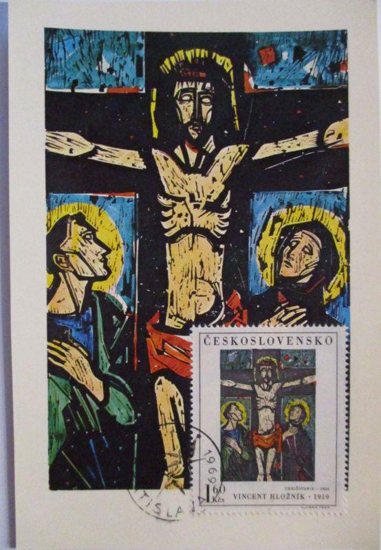 Tschechoslowakei, Kunst Maximumkarte, Kreuzigung, 1969 (12891)