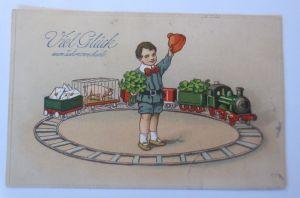 Neujahr, Kinder, Mode, Eisenbahn, Kleeblatt, Briefe,  1914  ♥  (66534)