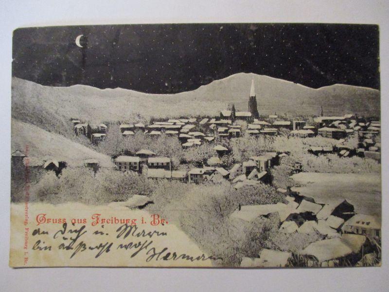 Gruß aus Freiburg im Breisgau, Ansicht bei Nacht, 1899 (22735)