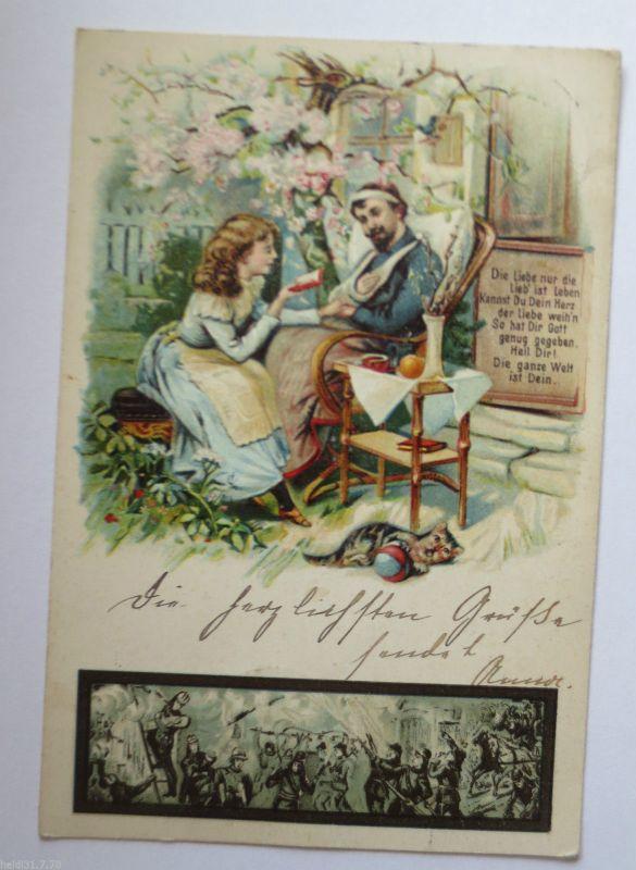 Feuer, Feuerwehr, Katze, Litho 1901 aus Potsdam (28256)