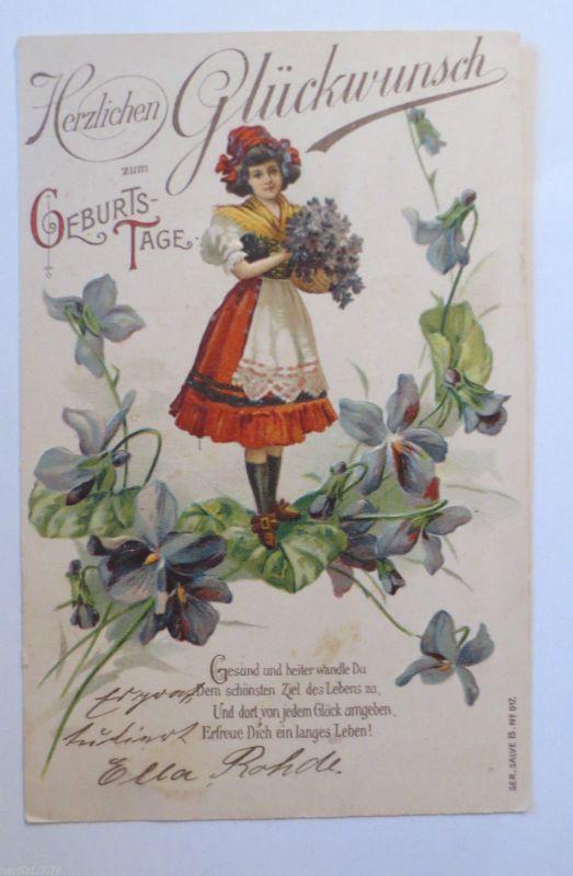 Geburtstag Frauen Korb Blumen Spruch 1903 Pragekarte 31627