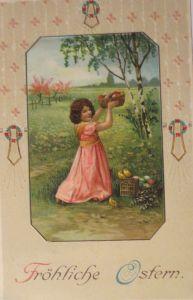 Ostern, Kinder, Ostereier, Küken, Biedermeier 1912 Prägekarte  ♥ (6989)