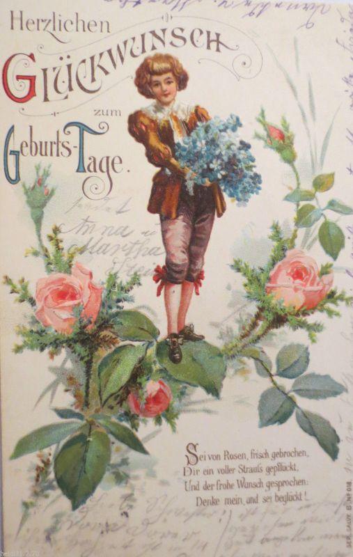 Geburtstag Kinder Blumen Rosen 1905 Pragekarte 22079 Nr