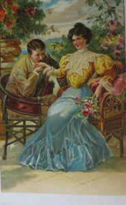 Ostern, Kinder, Mode, Heißluftballon, Hühner,   1911, Prägekarte  ♥  (24277)