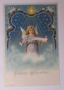 Weihnachten, Engel,  Stern, Jugendstil,  1910, Prägekarte ♥ (65671)