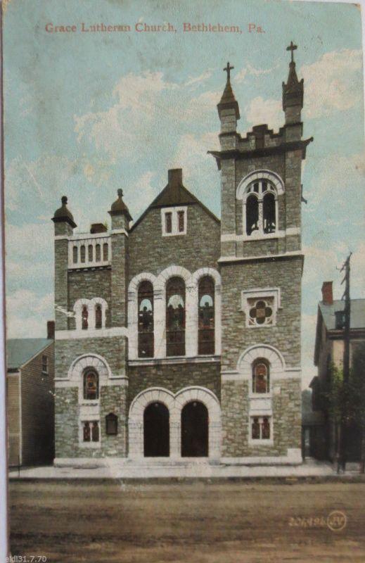 USA, Bethlehem, Pa., Grace Lutheran Church, 1908 nach Wilferdingen (8230)