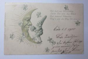Neujahr, Zwerge, Mond, Kleeblatt, Metamorphose, 1900, Prägekarte  (65887)
