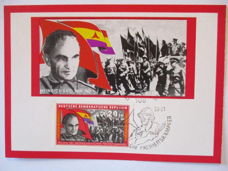 DDR, Dt. Freiheitskämpfer, Maximumkarte 1966, Heinrich Rau (26354)