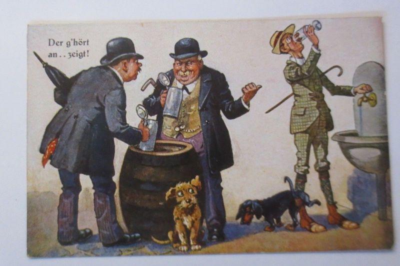 Scherzkarte, Männer, Fass, Bier, Bierkrug, Dackel  1930  ♥ (24501)