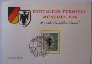 Sport, 150 Jahre Deutsches Turnen, Sonderkarte München 1958 (13833)