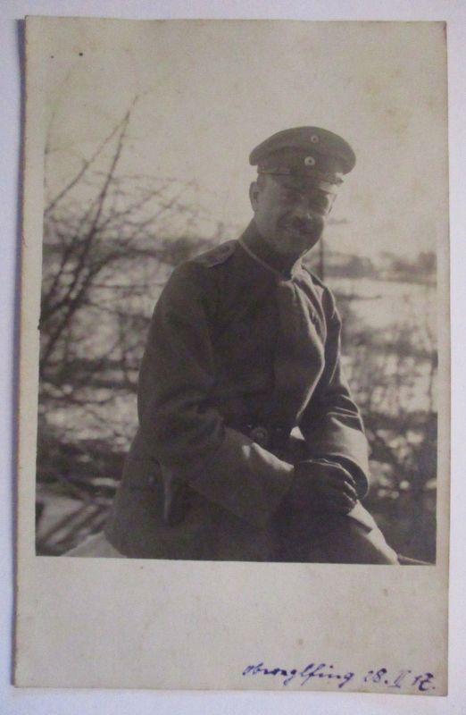 Bayern, Obereglfing Eglfing, Deutscher Offizier Fotokarte 1917 mit Text (8357)