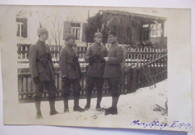 Bayern, Obereglfing Eglfing, Offiziere mit Pickelhaube, Fotokarte 1917 (33621)