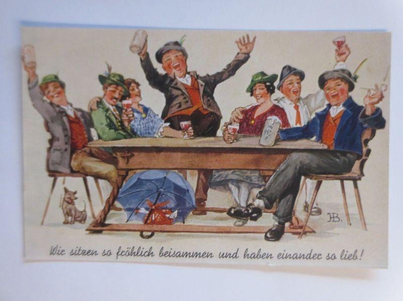 Scherzkarte, Frauen, Männer, Bier, Bierkrug, Hund, 1901, sig. H.B. ♥ (42795)