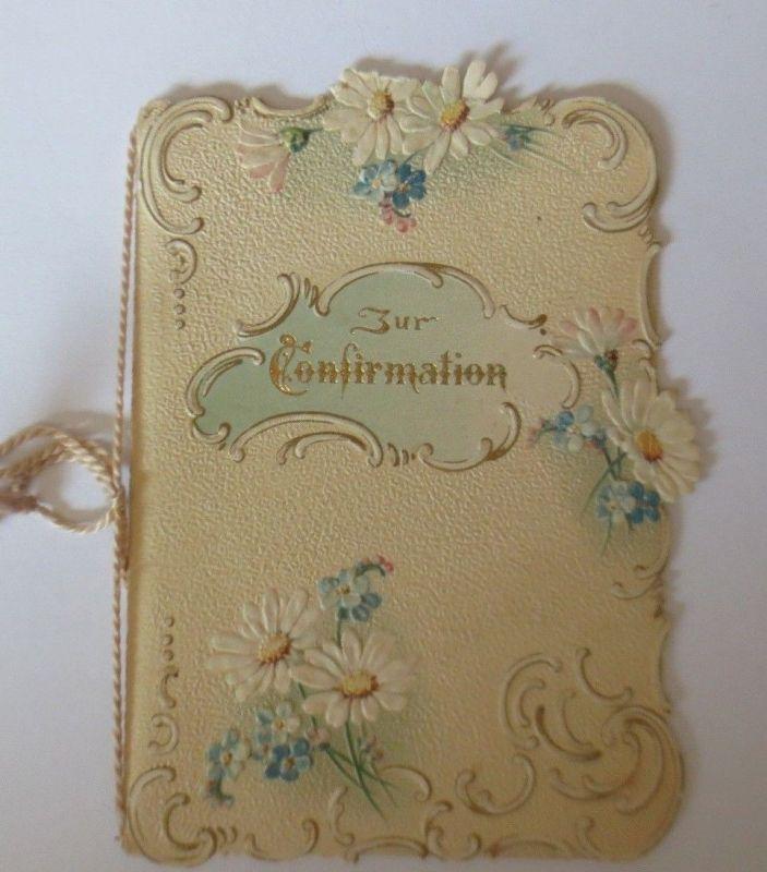 Konfirmation, Blumen, Jugendstil,   1900, Klappkarte ♥ (64609)