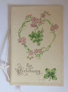 Verlobung, Blumen, Kleeblatt,  1900, Kleine Klappkarte  ♥ (64604)